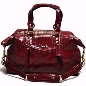 Genuine Coach Patent Ashley Satchel Crimson Red